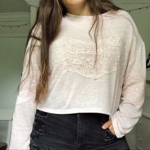 Pink H&M Cropped Long Sleeve Top
